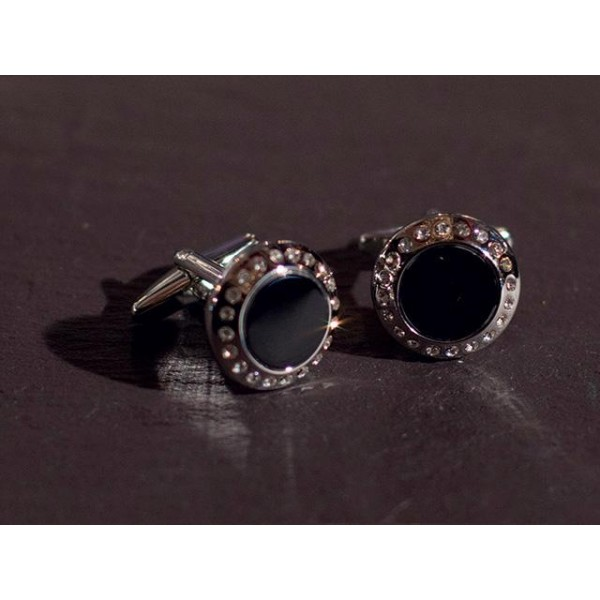 Cufflinks with Crystals Silver/Black Onyx